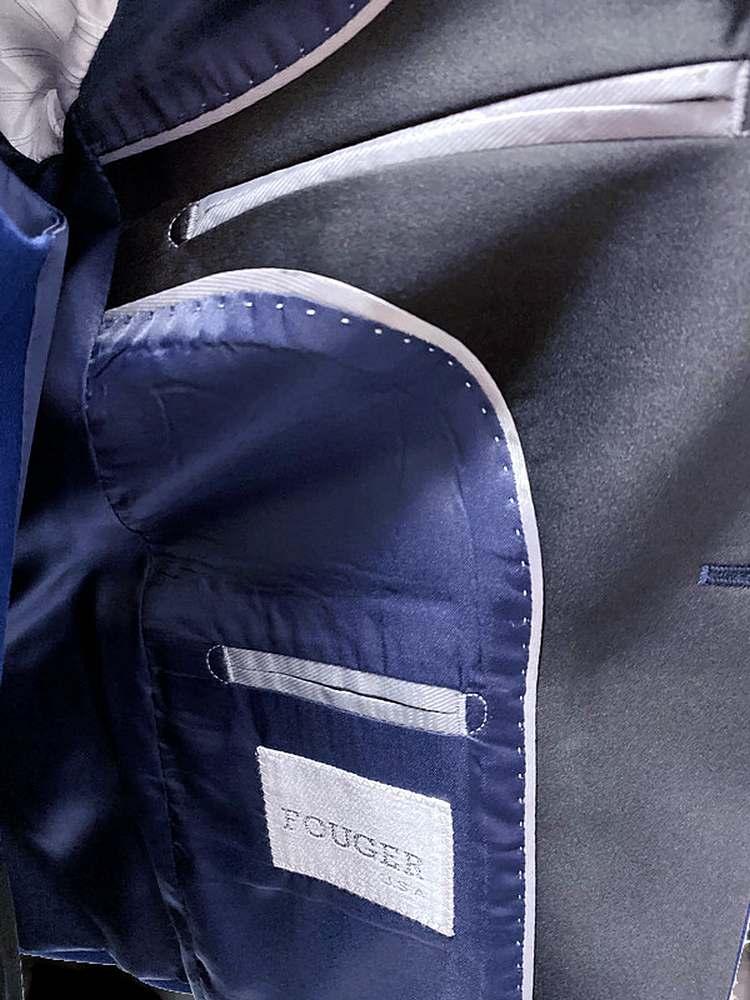 640/645 INDIGO/BLACK PIECE SUITS BLUE SHAWL SLIM SOLID CHINA POLYESTER