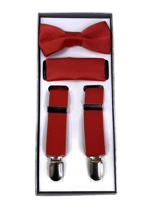 *SUSPENDER 3 B / TOMATO RED / Boys 3 Piece Suspender Set