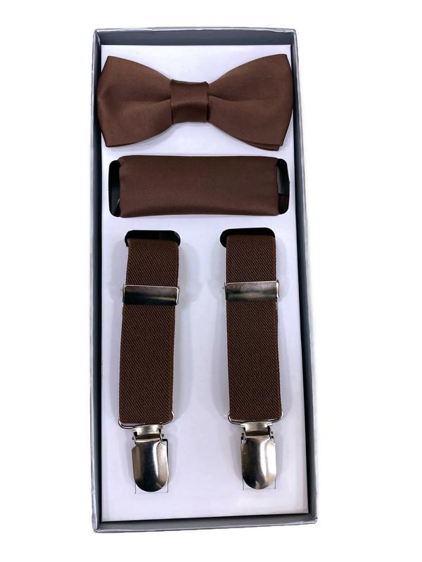 *SUSPENDER 3 B / BROWN / Boys 3 Piece Suspender Set
