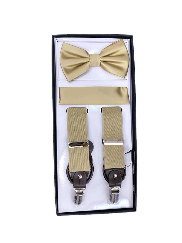 *SUSPENDER 3 M / BEIGE P / Men's Three Piece Suspender Set