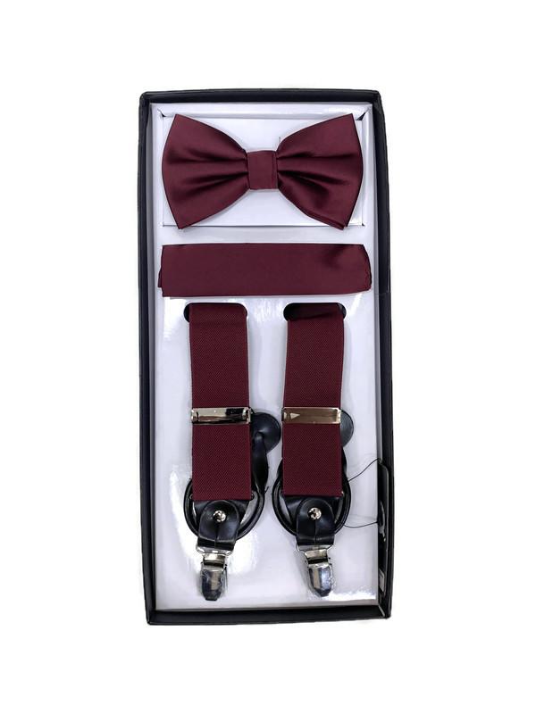 *SUSPENDER 3 M / BURGUNDY R / Men's Three Piece Suspender Set