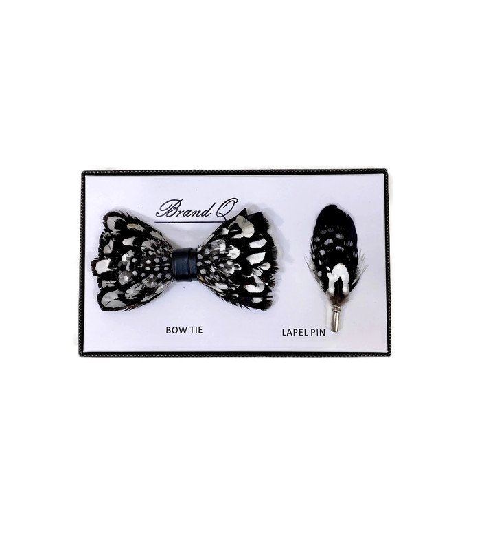 * BOW & PIN FTR / BLACK 12 / Feather Bow Tie and Lapel Pin Set