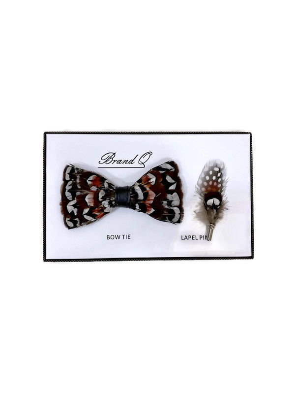 * BOW & PIN FTR / RED 6 / Feather Bow Tie and Lapel Pin Set