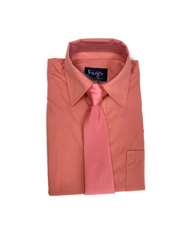 *SHIRT & TIE / CORAL / Regular Fit Shirt and Tie Set