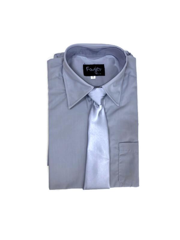 *SHIRT & TIE / LIGHT GRAY / Regular Fit Shirt and Tie Set