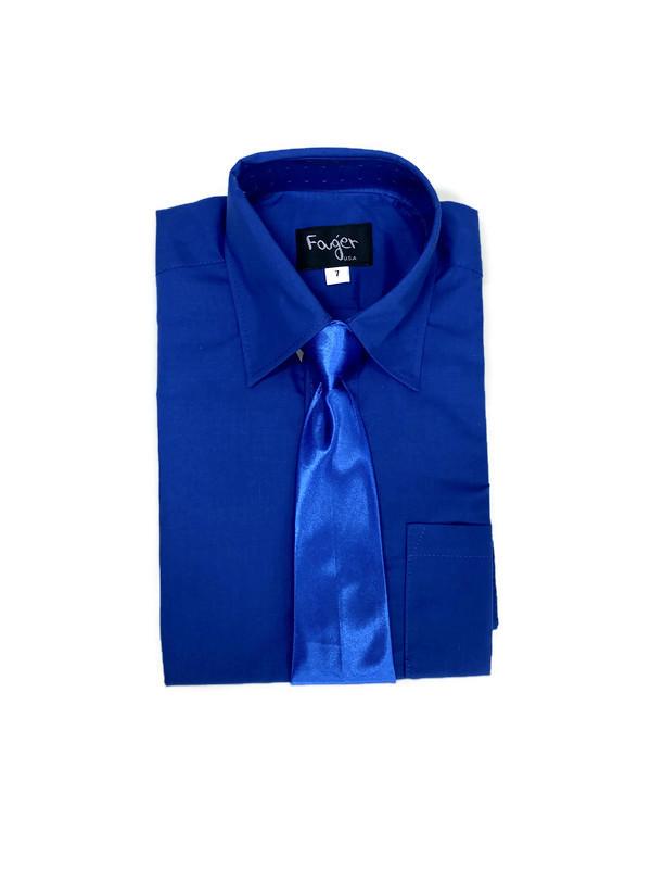 *SHIRT & TIE / ROYAL BLUE / Regular Fit Shirt and Tie Set