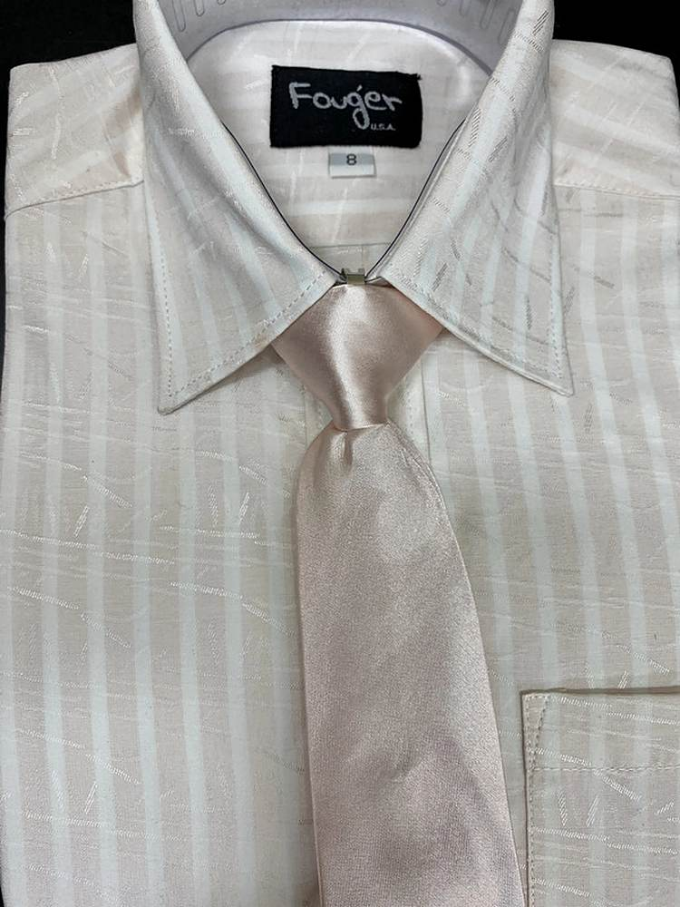 *SHIRT & TIE / BLUSH PINK 901 / Regular Fit Shirt and Tie Set
