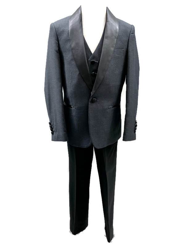 640 / 3 PC SLIM FIT SUIT 1-7 / CHARCOAL/BLACK