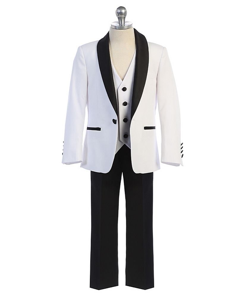 640 / 3 PC SLIM FIT SUIT 1-7 / WHITE/BLACK